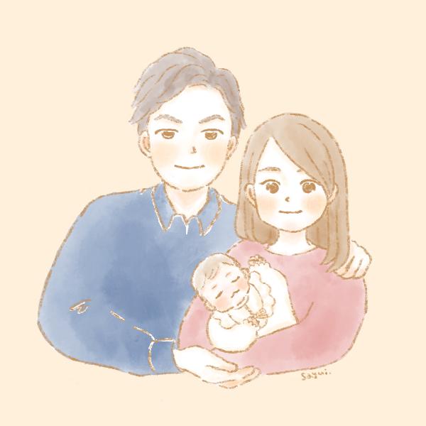 似顔絵夫婦と新生児ちゃん