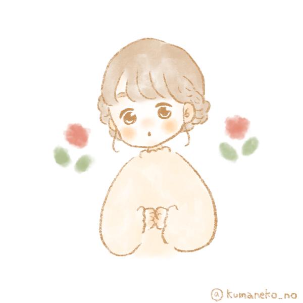 女の子とお花のフリーアイコン1