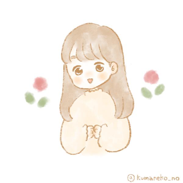 女の子とお花のフリーアイコン4