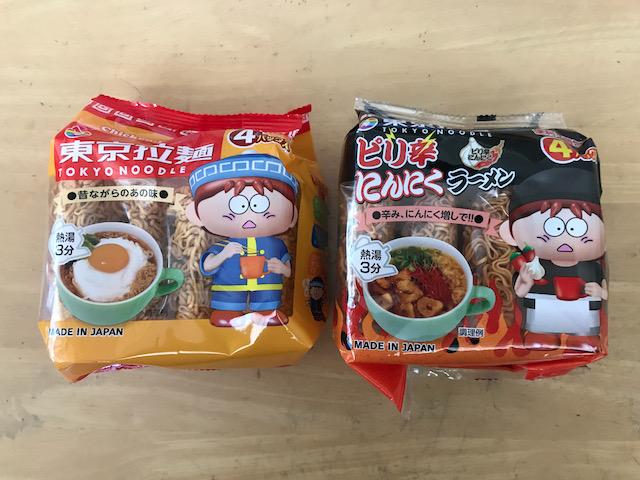 """ダイソーの即席麺4食入り""""東京拉麺""""と""""ピリ辛にんにくラーメン"""""""