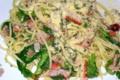 晩飯パスタ 菜花、カニカマ、ベーコンのペペロンチーノ