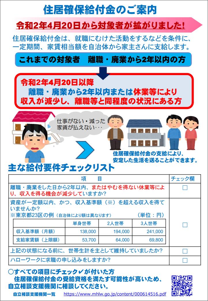 住居確保の給付金1