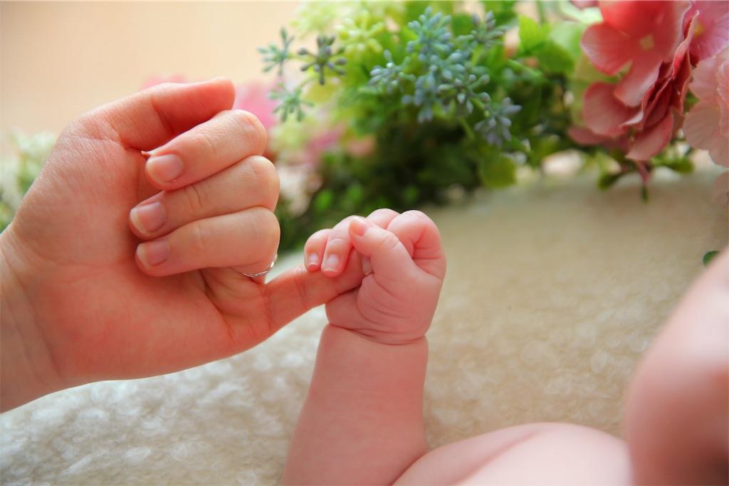 赤ちゃんの手とお母さんの手
