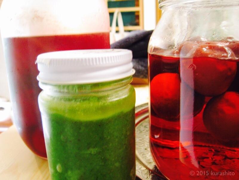 初夏の瓶詰め。ペスト・ジェノヴェーゼと、すもものコンポート、すもものサワードリンク。