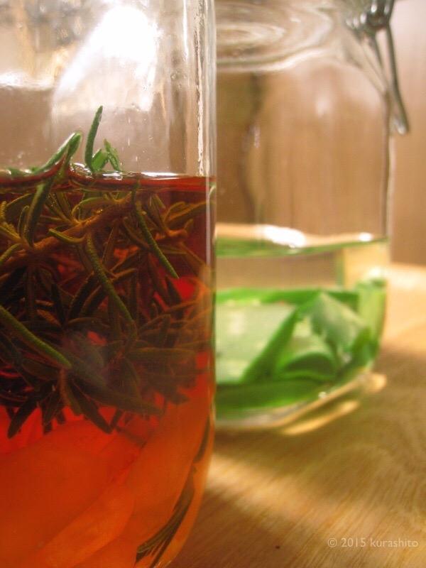 手作りローズマリー・ブランデー酒と、アロエ化粧水エキス。