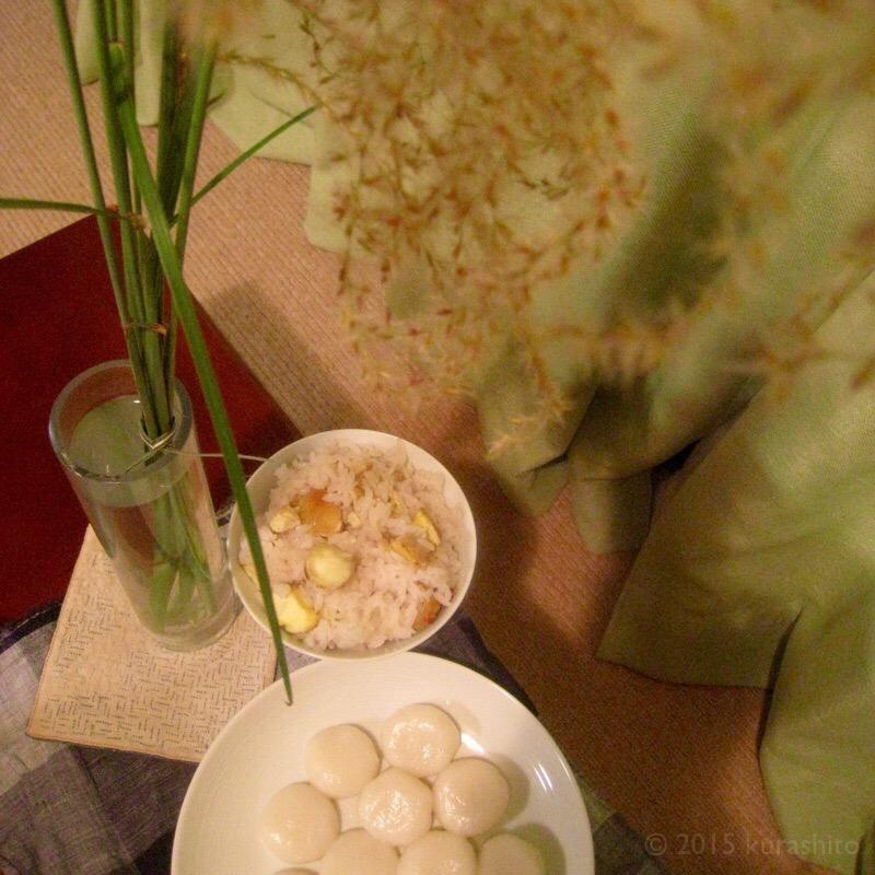 栗ご飯・お団子・ススキで、十三夜。