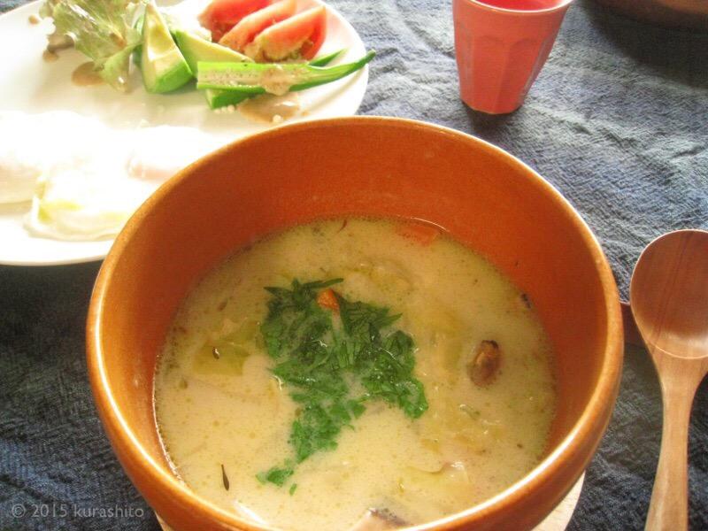ルクルーゼで、くず野菜を使ってスープ。クラムチャウダー編。
