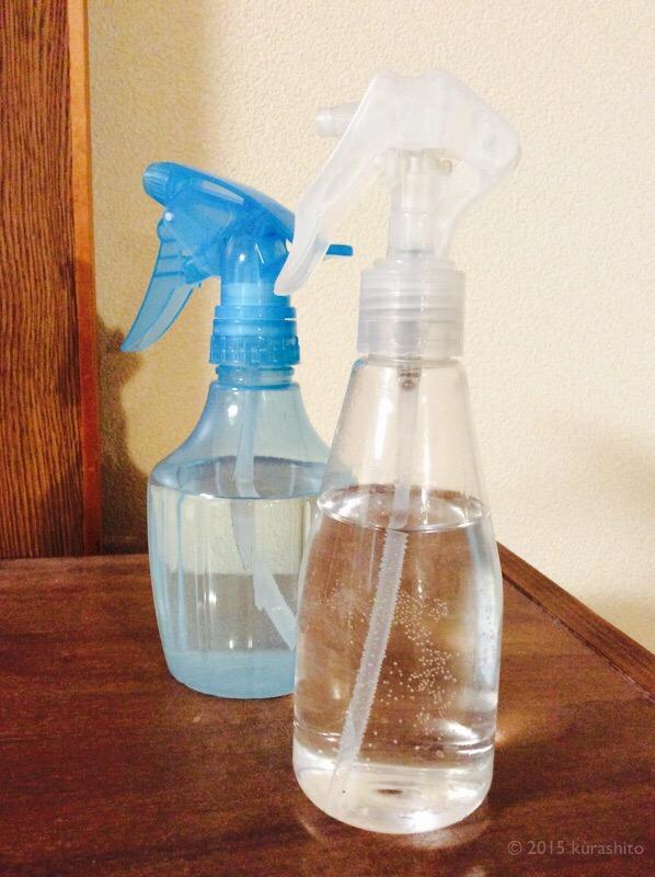 セスキ炭酸ソーダ液とクエン酸液のスプレー