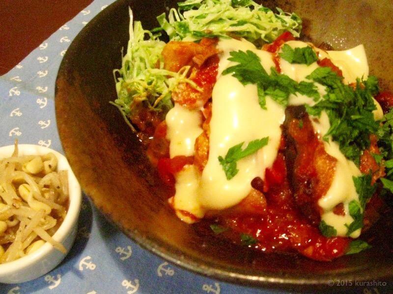 チキンのトマト煮、自家製ザワークラウトを添えて。