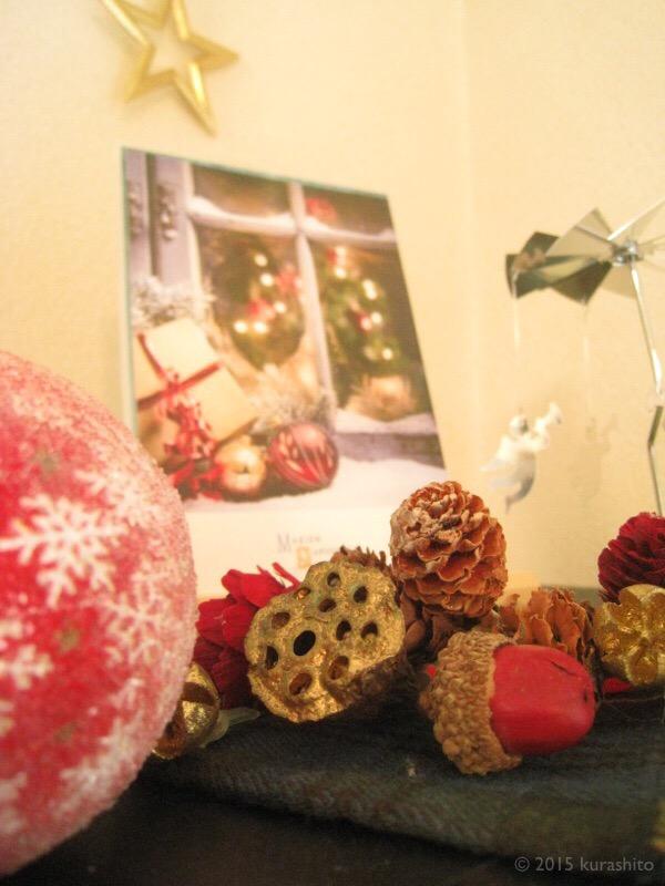 リビングのクリスマス飾りコーナー。