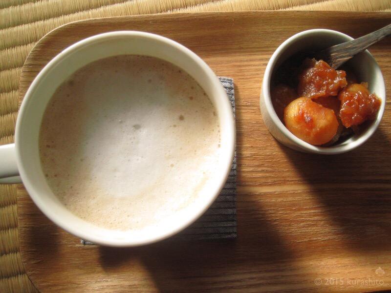 煮豆とカフェラテ