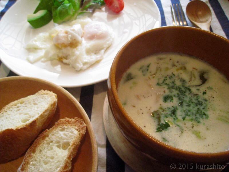 韓国干しダラのだしで、クラムチャウダー的洋風クリームスープの朝食。