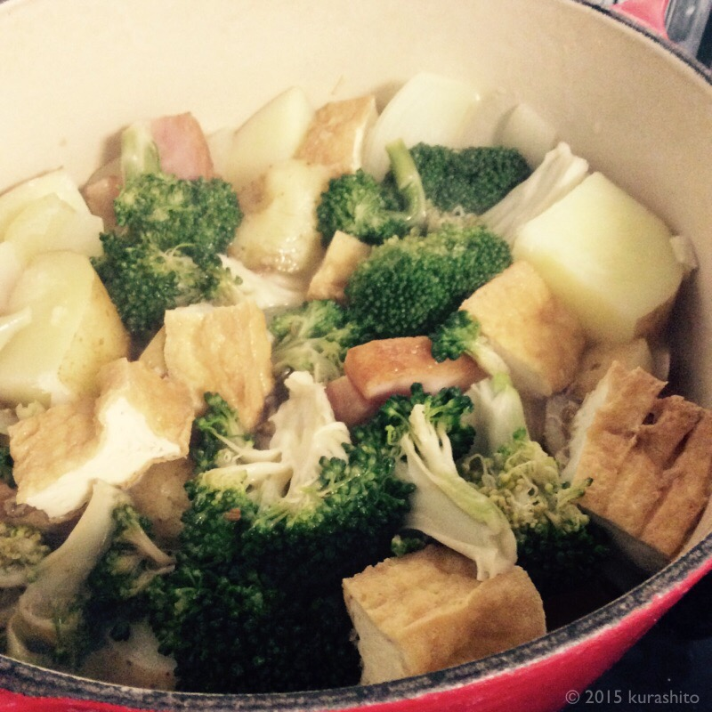 干しブロッコリーと新じゃがとベーコンの煮もの