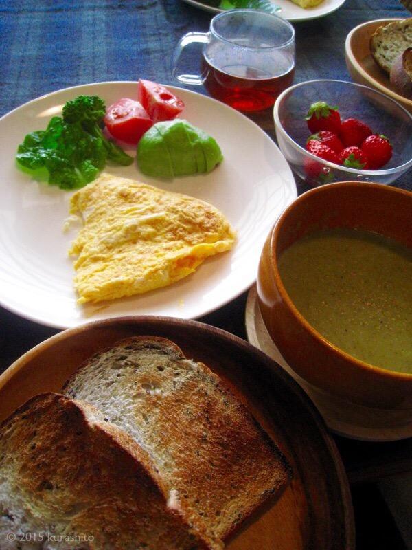 朝食。新じゃがとブロッコリーのポタージュ。