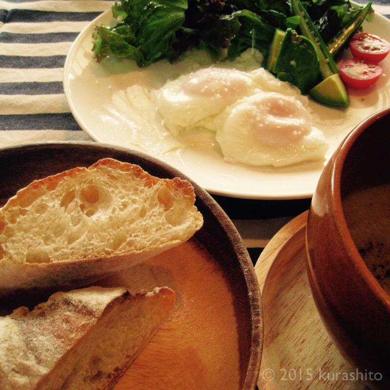 自家製バゲットで休日の朝食