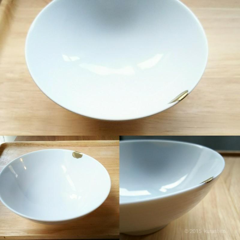 無印良品の白磁の飯椀を金継ぎ。