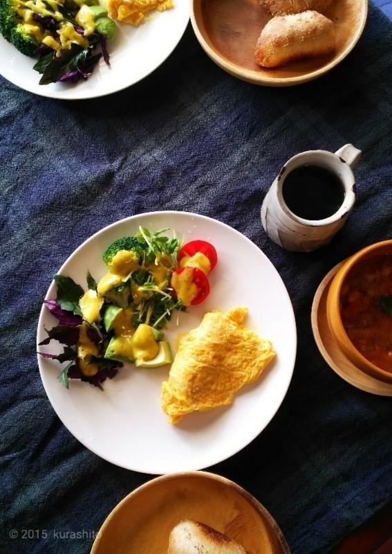 自家製マヨネーズで休日の朝食。