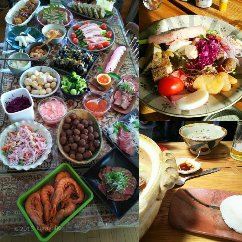 お正月、一品持ち寄りのおせち料理と、サムゲタン風鍋。