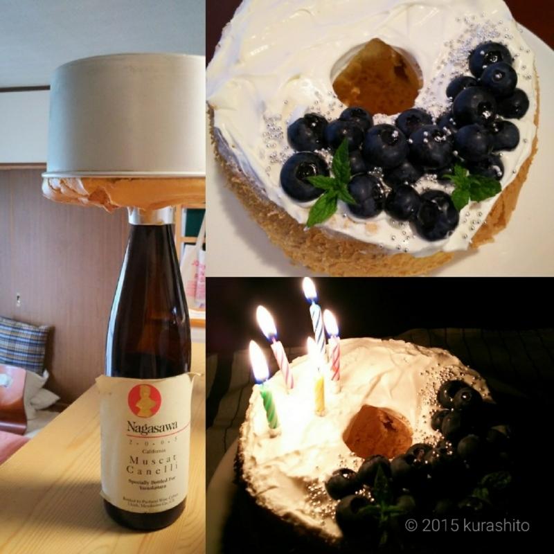 ブルーベリーとミントとアラザンで、バースデーシフォンケーキ。