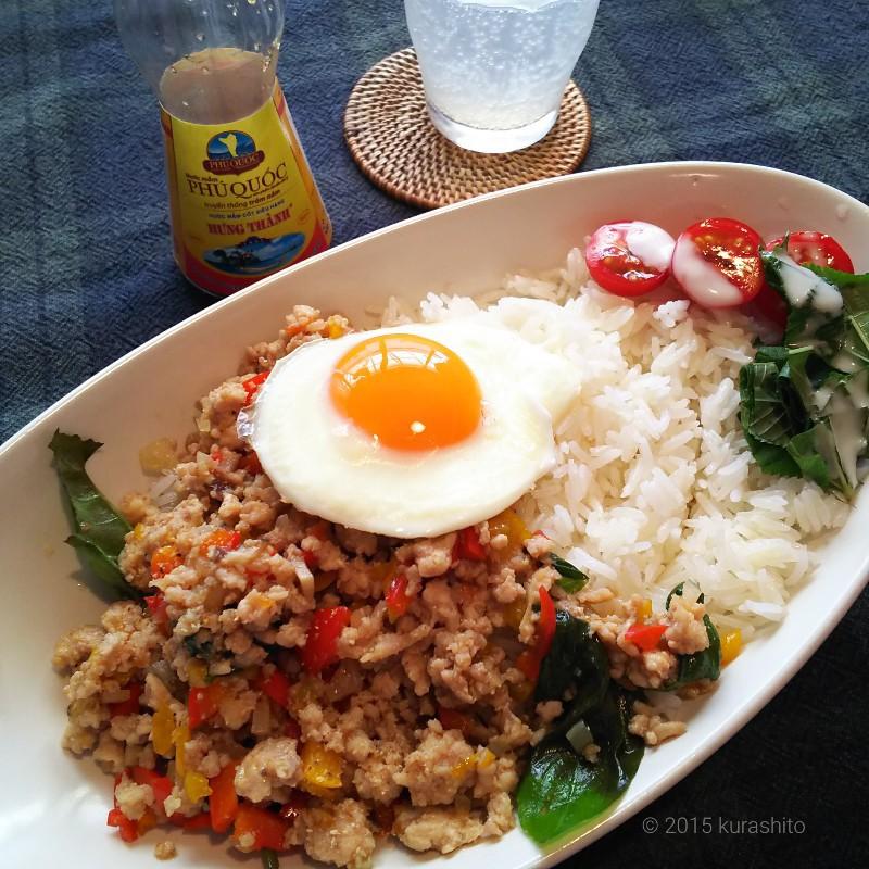 タイ香り米をお鍋でおいしく炊くコツ!ガパオライス。