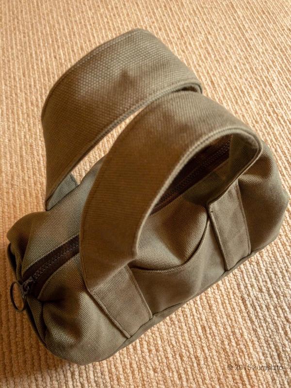 家庭用ミシンで縫える8号帆布で作る、小型ボストン。