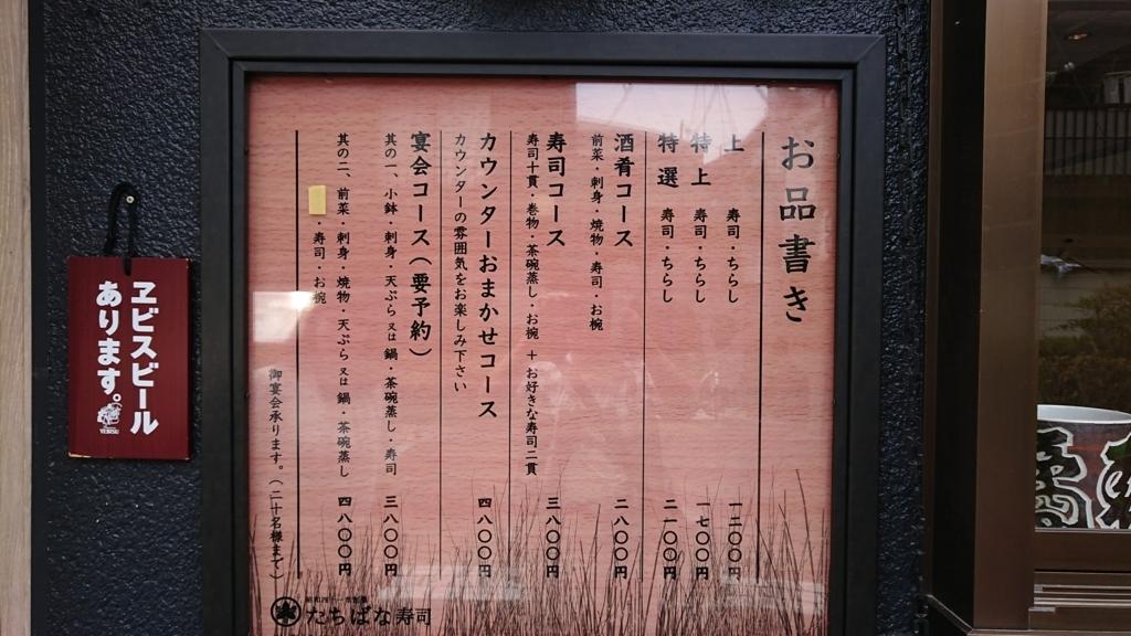 橘寿司のメニュー表