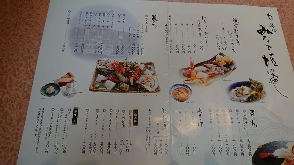 亀喜寿司のメニュー表