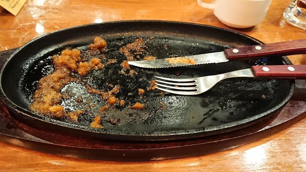 食べ終わったステーキ