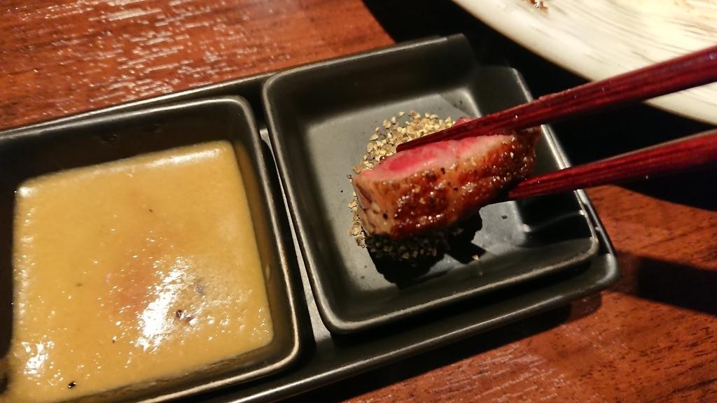 胡椒で食べるステーキ