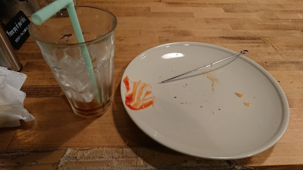食べ終わったハンバーガーのお皿