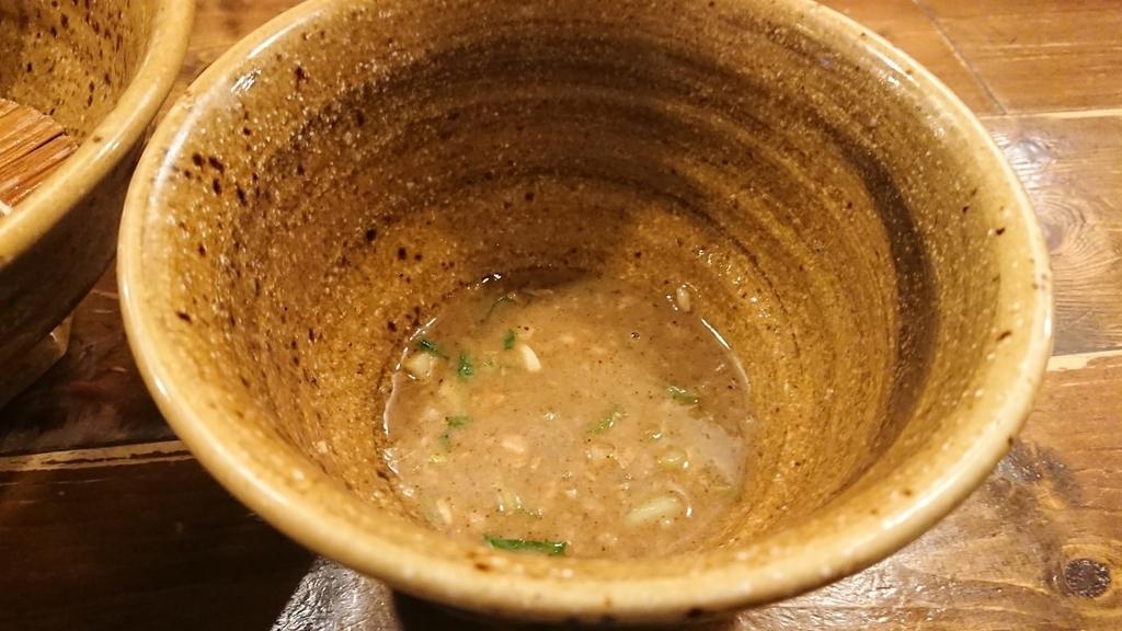 スープが少なくなったベジポタつけ麵