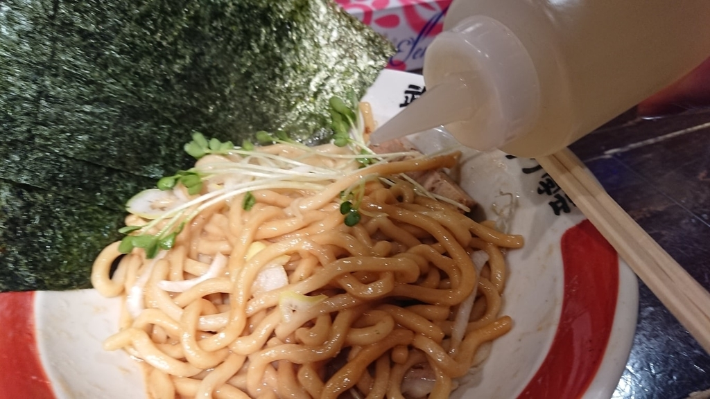 武蔵野油そばにかける酢