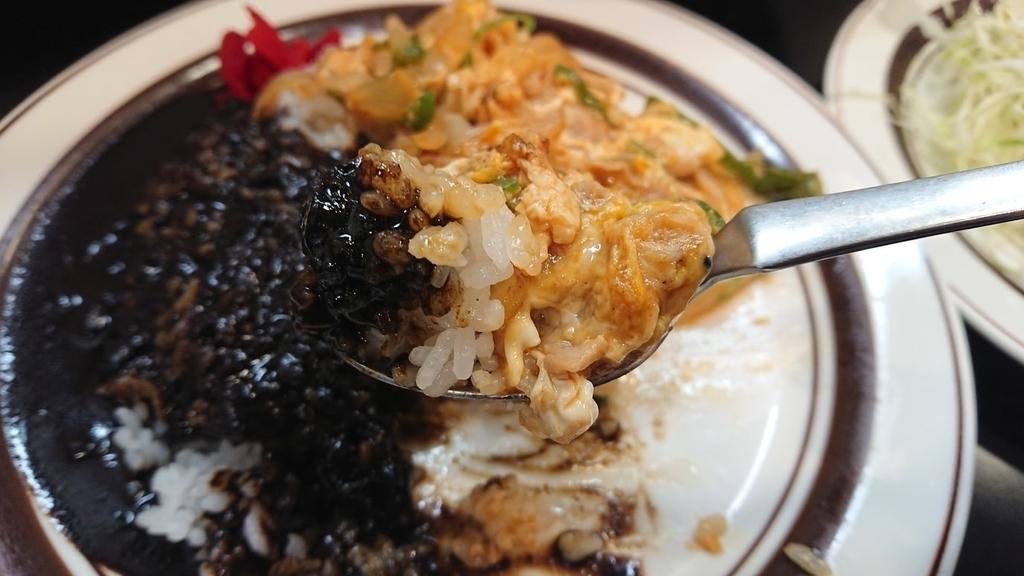 インディアンライス&黒カレーをスプーンで食べるところ