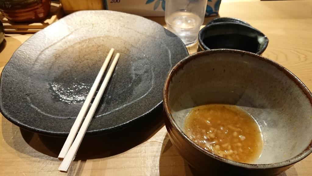 食べ終わった辛味つけ麵