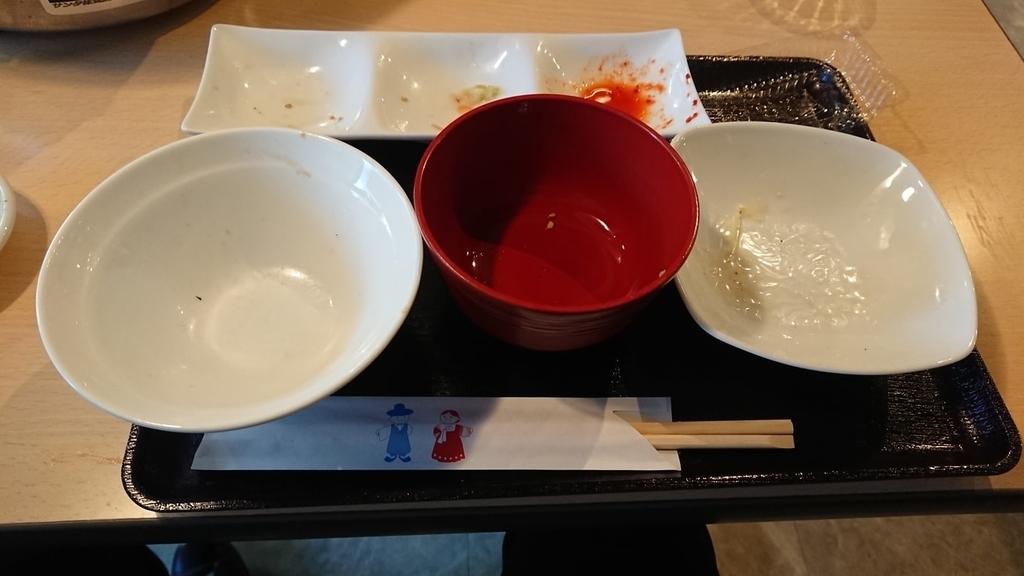 食べ終わったハラミ定食