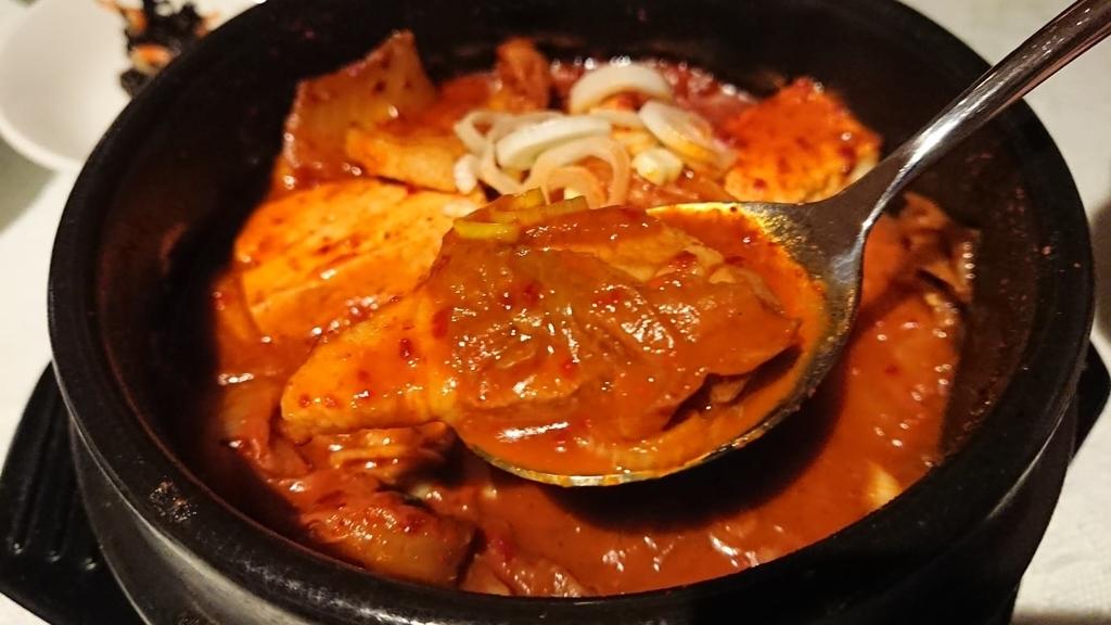 キムチチゲ鍋の豚肉