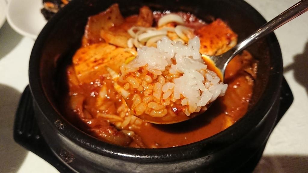 キムチチゲ鍋に浸したご飯