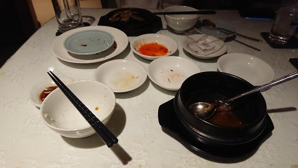 食べ終わったキムチチゲ定食