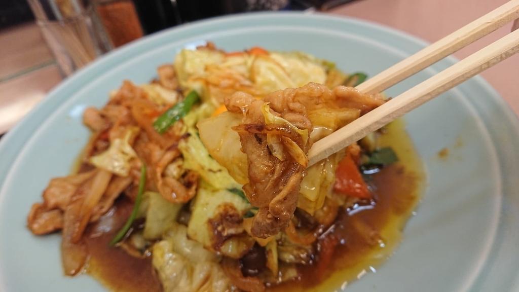卵をつけずに食べる野菜と肉のタレ焼き