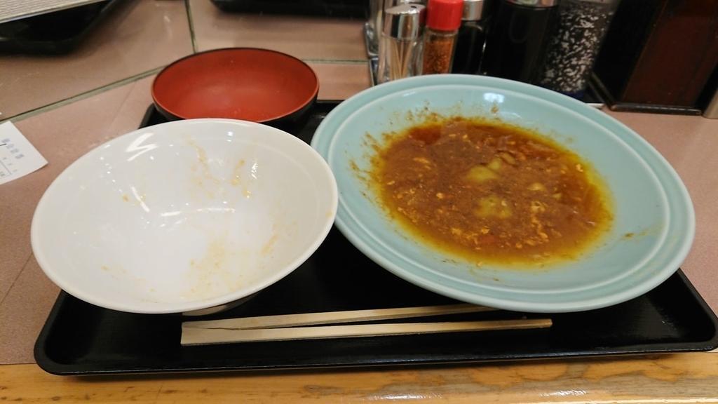 食べ終わった野菜と肉のタレ焼き定食