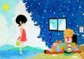 夏と冬(日本画)