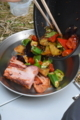 夏野菜の黒ニンニク味噌炒め