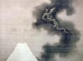 222葛飾北斎「富士越龍図」(部分)1849 絹に墨 北斎館蔵