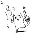 [落書き]肉とフラスコ持った猫