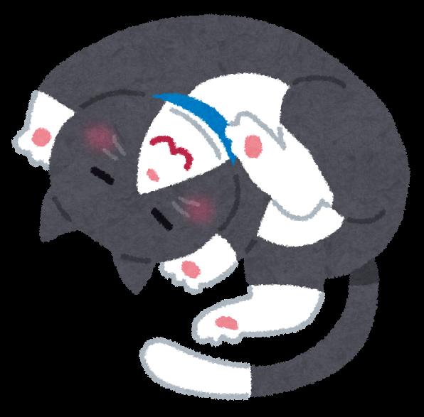 寝転がる猫のイラスト