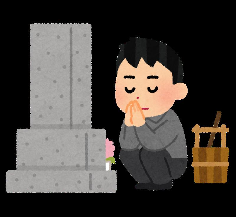 墓参りをする人