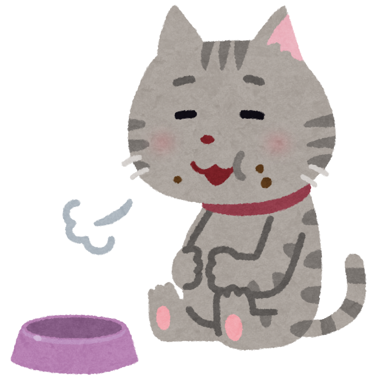 満腹になっている猫のイラスト