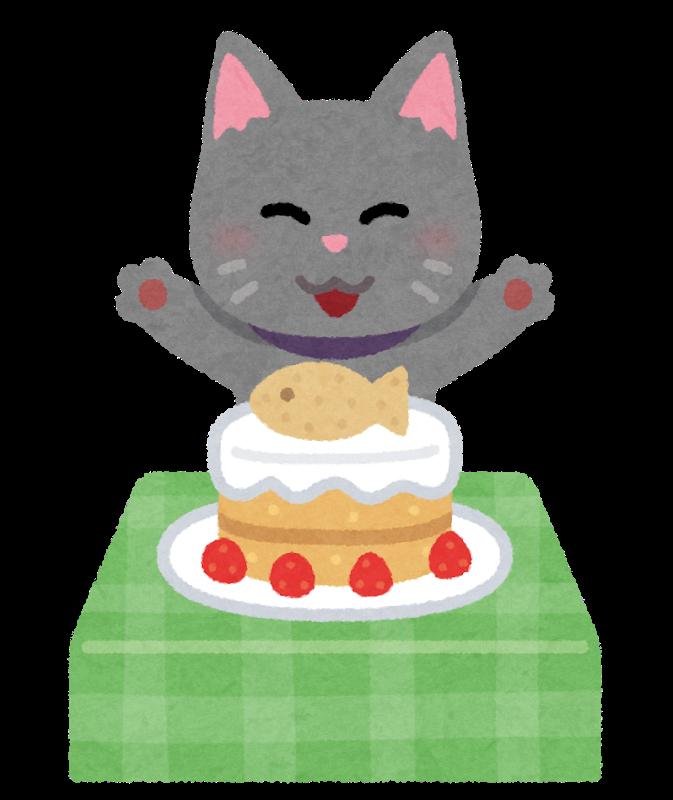 ケーキを食べる猫
