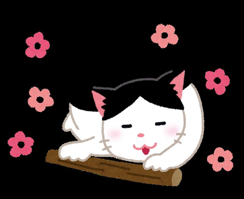 またたびで気持ちよくなっている猫のイラスト