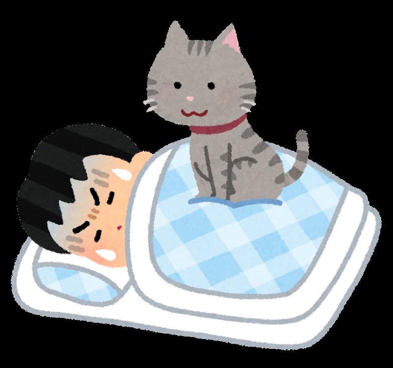 寝ている人の上に乗る猫のイラスト